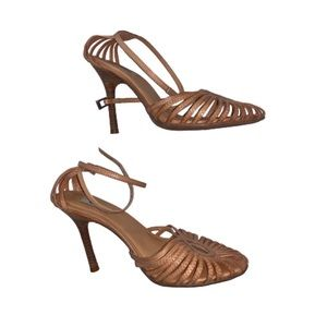 SCHUTZ Tan Brown Leather Strappy Heels